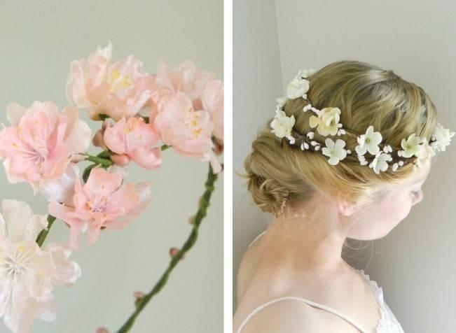 cherry blossom flower crown, pink, ivory sakura hair wreath