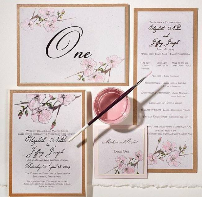 cherry blossom watercolor handpainted wedding invitations