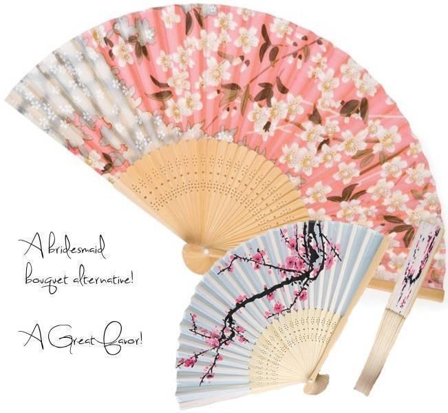 silk cherry blossom fans, japanese fan wedding favors, bouquet alternatives