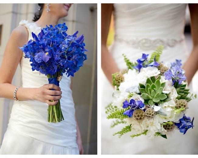 bright blue delphinium bouquet