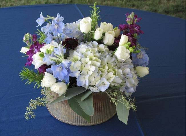 delphinium wedding table centerpiece