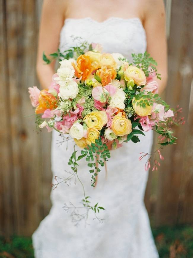 yellow orange pink jasmine bridal bouquet