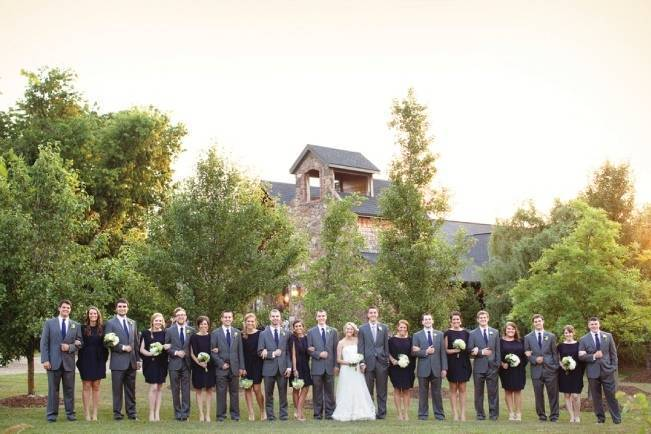navy green grey wedding party
