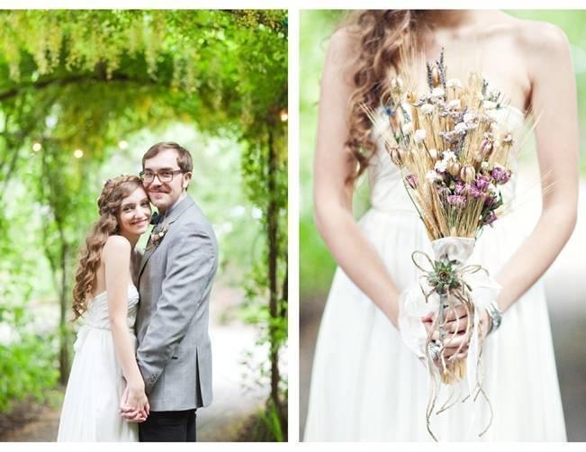 dried wildflower wedding bouquet