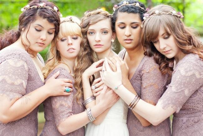 mauve crochet bridesmaid dresses