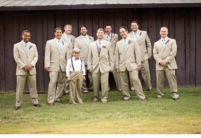 grey tan groomsmen suits