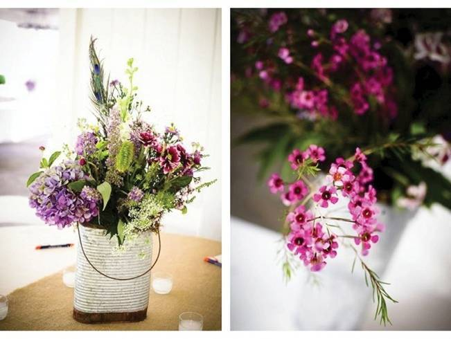 purple and pink wedding centerpieces