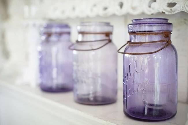 purple, violet mason jars