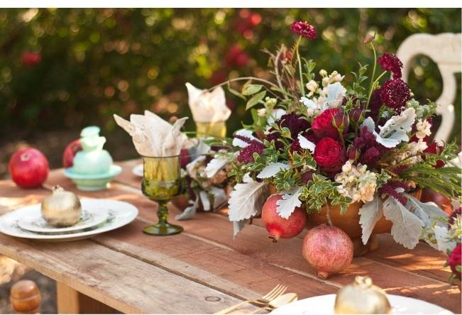wedding centerpieces with fruit and flowers