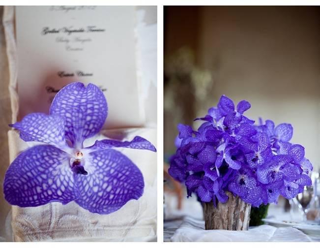 purple, blue orchid centerpiece