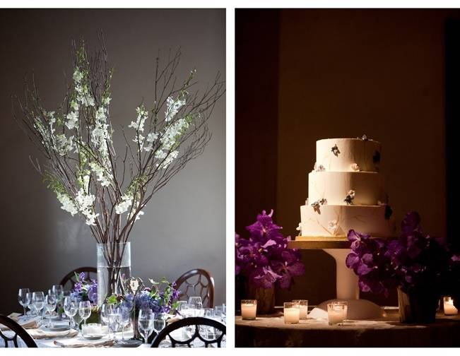 purple and ivory wedding cake