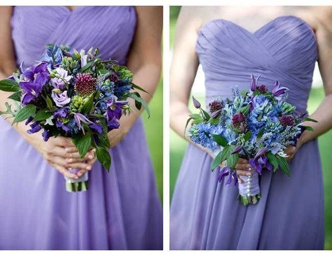 purple violet bridemaids dresses bouquets