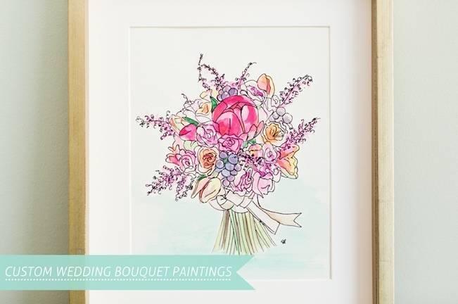 Custom Wedding Bouquet Paintings by Sarah Park Events