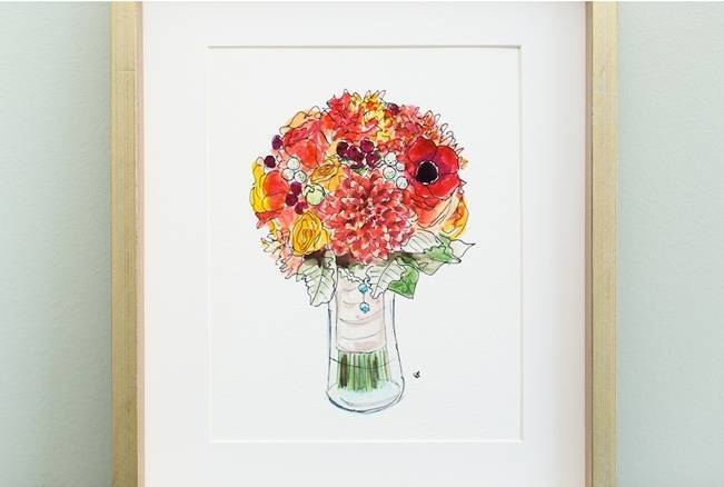 autumn wedding bouquet watercolor