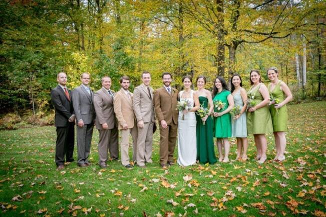 ombre wedding party brown and green