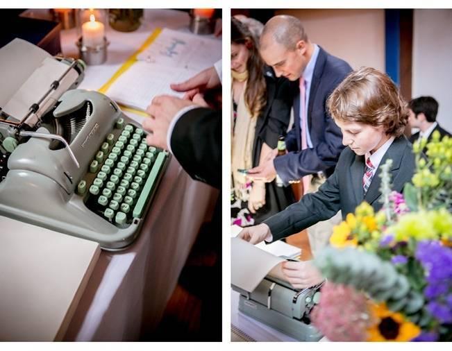 mint typewriter guest book