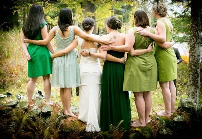 green bridesmaid dresses ombre