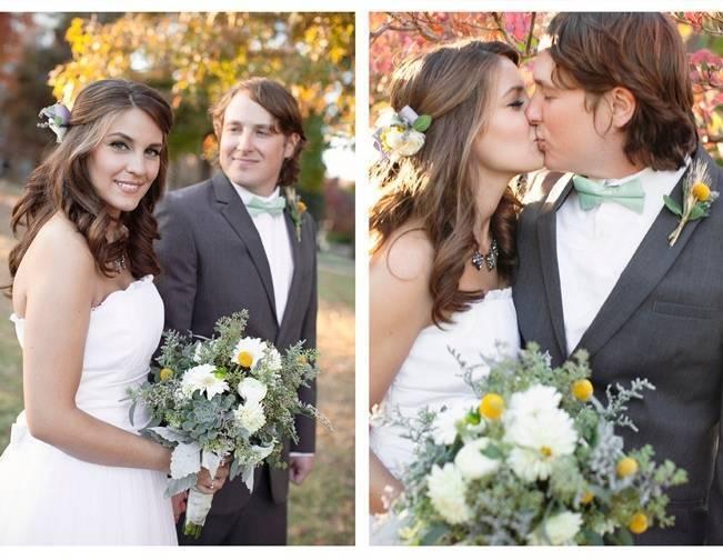 green white yellow bridal bouquet