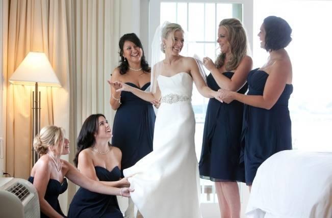 dark blue bridesmaids