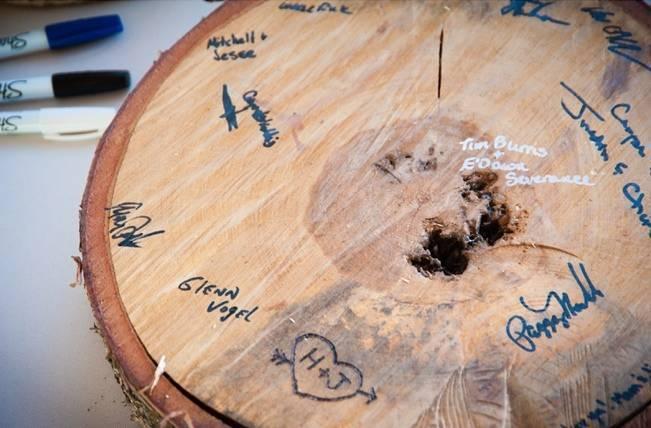 wood log guest book