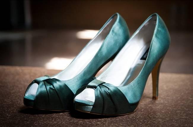 teal green satin wedding shoes