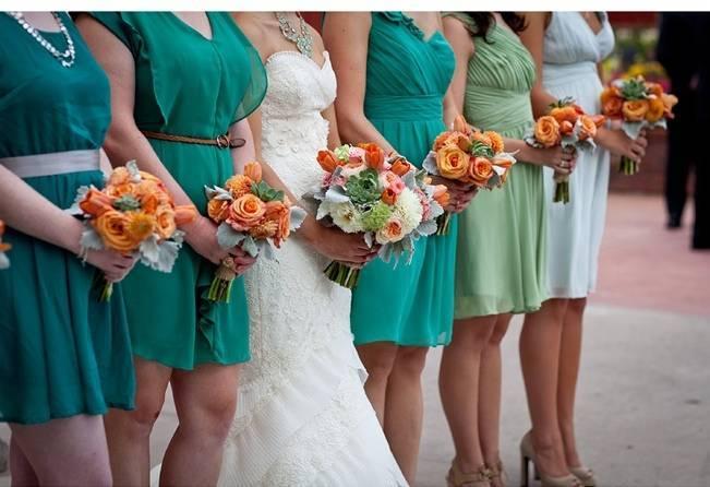 teal + orange wedding