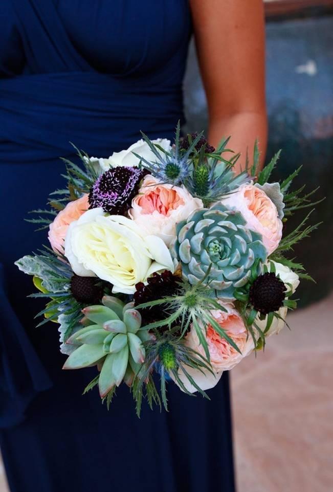 pink black spiky succulent bouquet