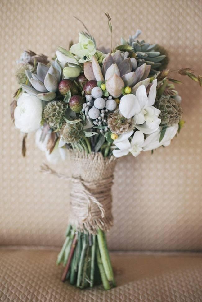 rustic succulent wedding burlap bouquet