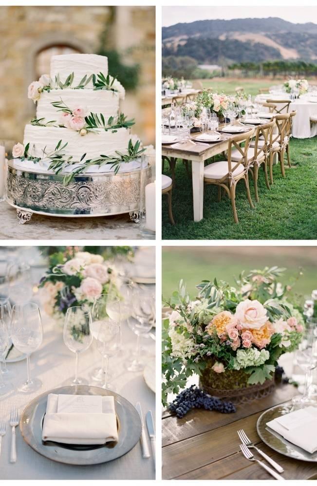 olive leaves wedding cake, outdoor vineyard reception