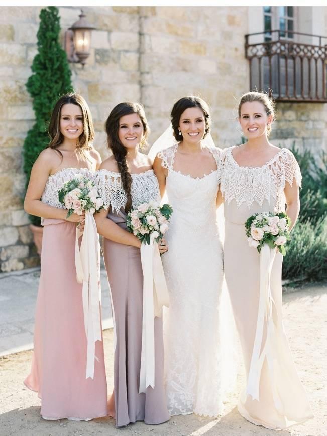pink, peach, mauve bridesmaid gown