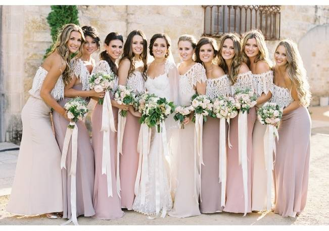 pink and peach custom bridesmaid dresses