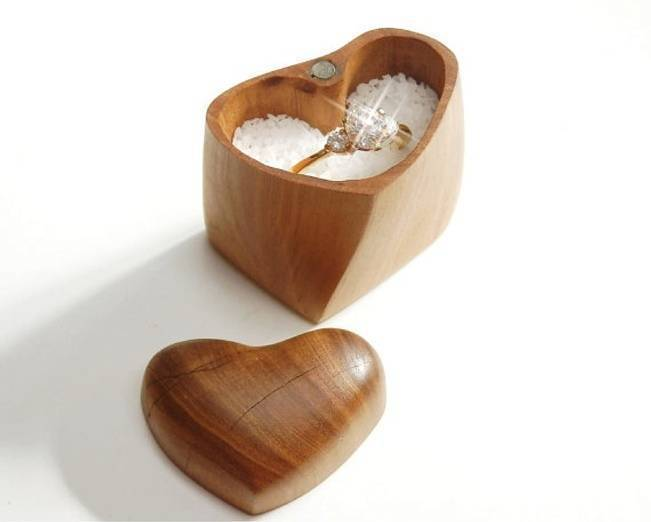 heart shaped wood engagement ring box