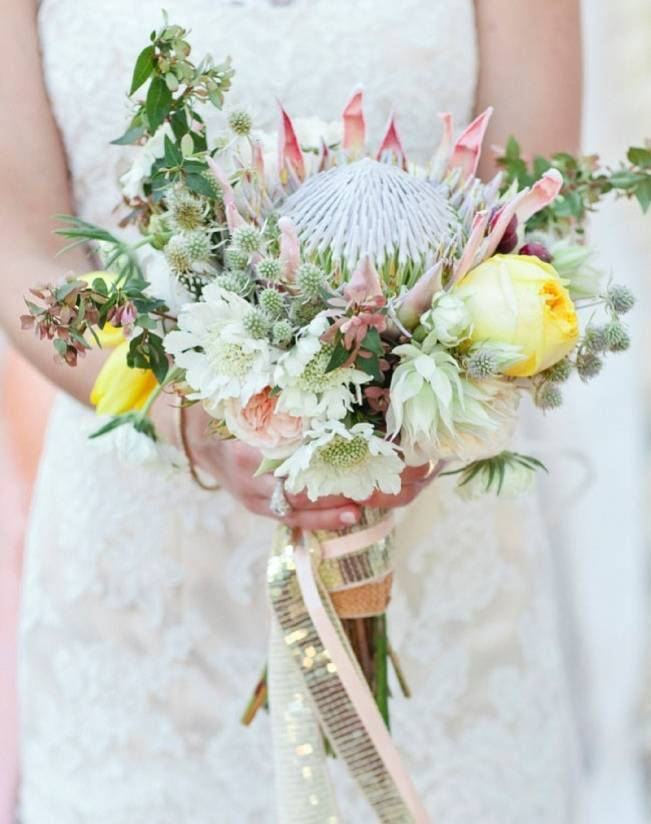 pink and yellow protea bouquet