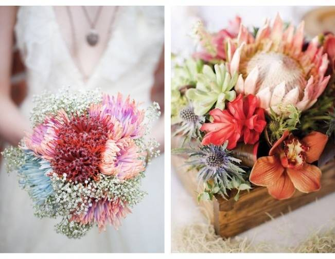 red protea bouquet centerpiece