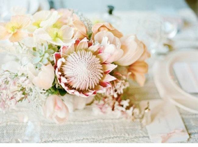 light pink protea centerpiece