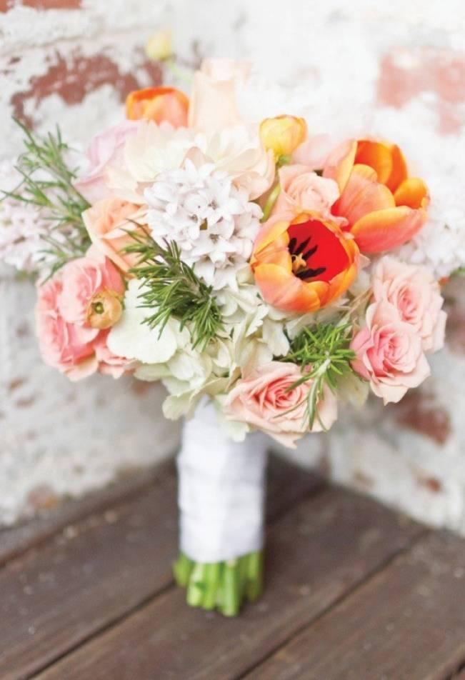 orange pink tulip wedding bouquet