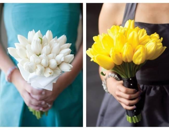 white yellow tulip bouquet