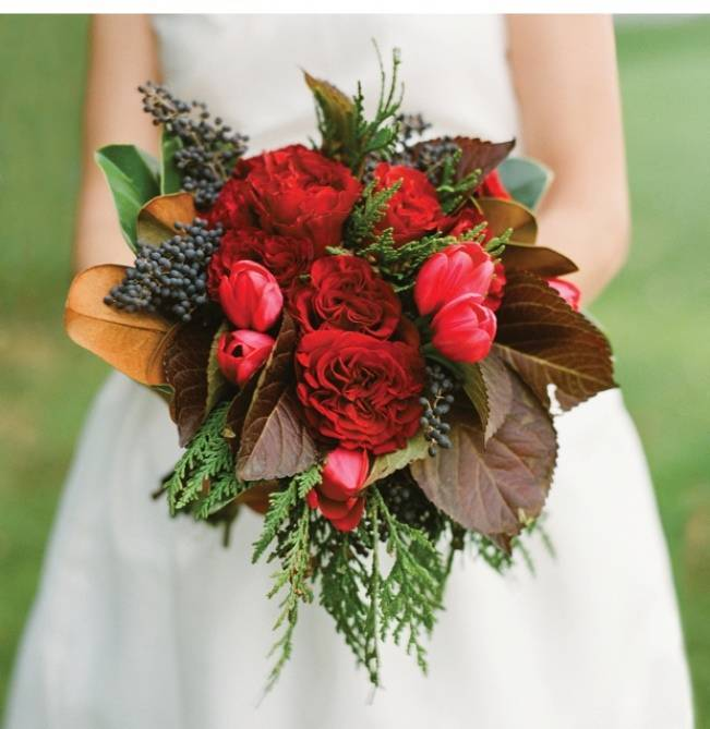 red tulip and rose wedding bouquet