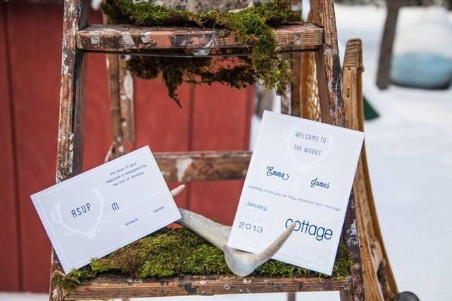 winter wedding woodsy invitations