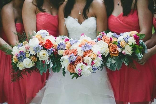 pink, peach, blue wedding bouquets
