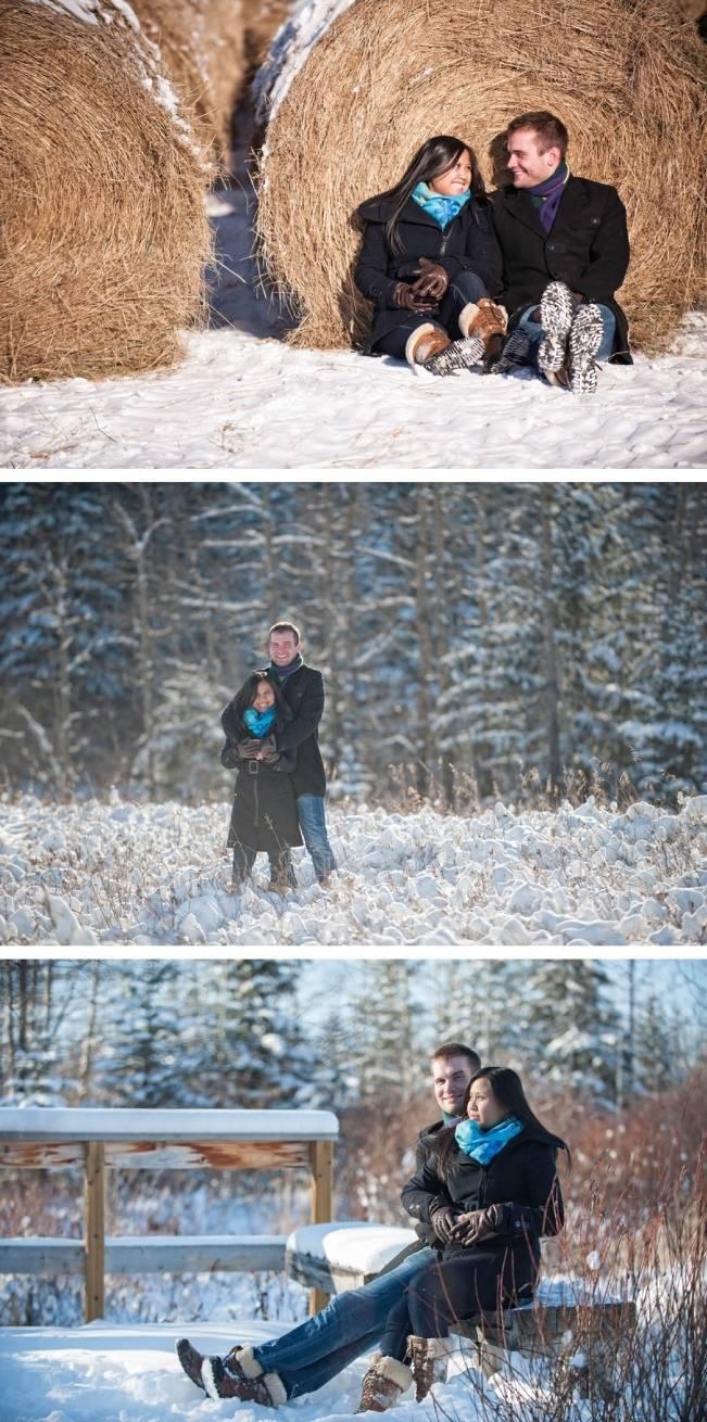 snowy winter engagement shoot