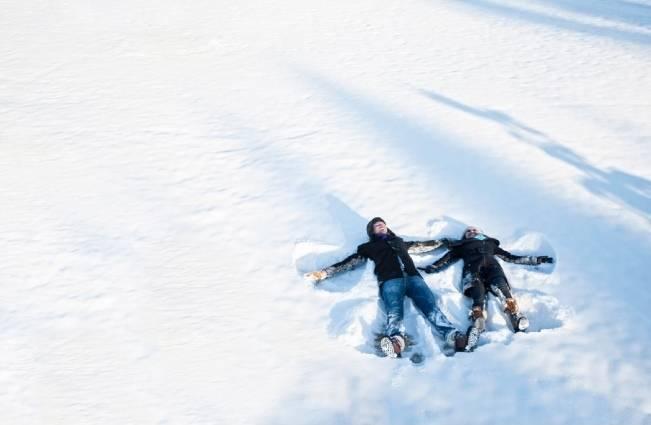 snow angel engagement shoot