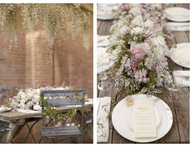 blush and green flower centerpieces
