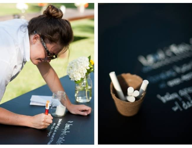 chalk board table guest book alternative