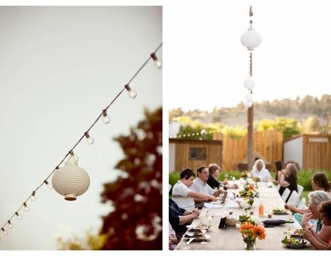 outdoor wedding reception, paper lantern strings