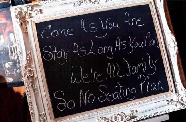chalk board wedding seating sign
