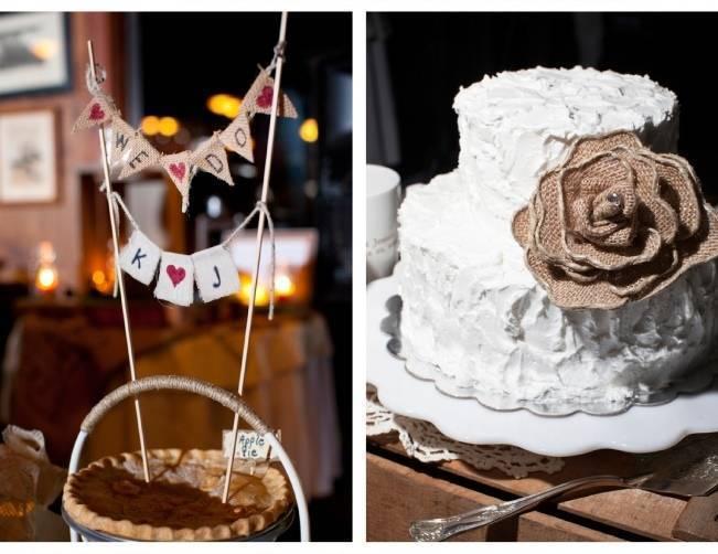 burlap flower wedding cake