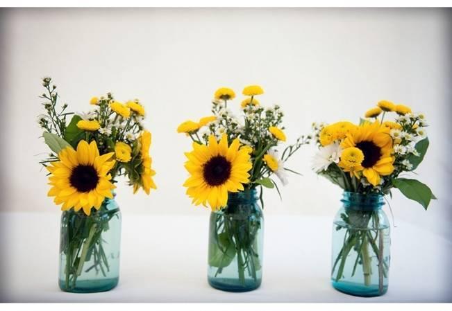 sunflowers in mason jars rustic wedding
