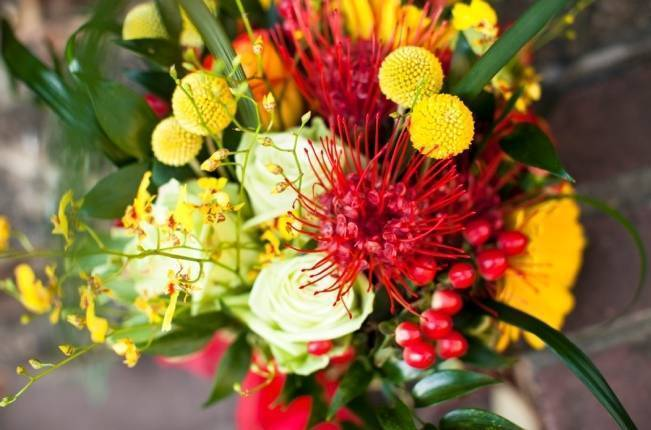 Red + Yellow Garden Room Wedding {from Photo Love}