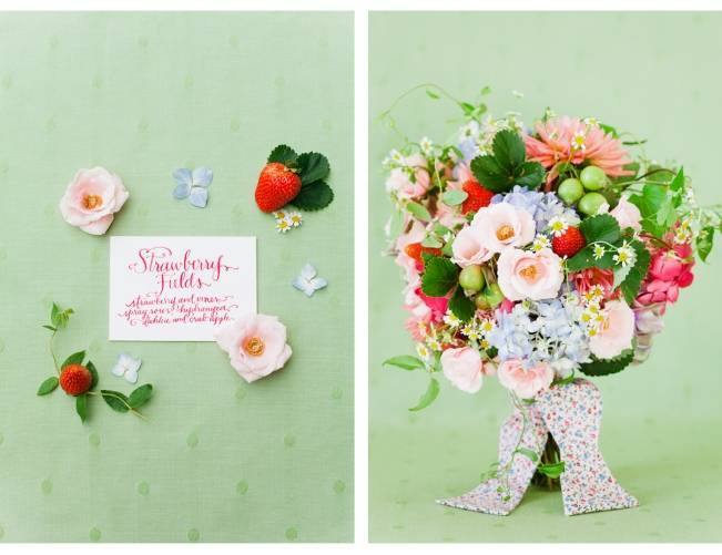 Strawberry fields, bridal bouquet